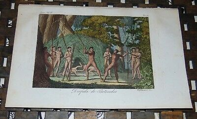 ANTIQUE Italy COPPER ENGRAVING Print 1828 AIMORE INDIANS Fighting BOTOCUDO 51A