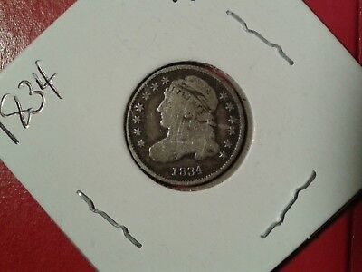 1834 capped bust dime small 4 vg/f details low mintage