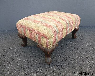 Vintage French Provincial Country Pink Stripped Ottoman Footstool Ornate Feet