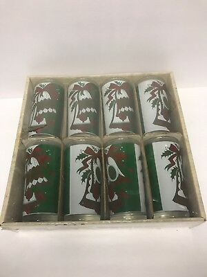 Lot of 8 Libbey Christmas Bells 8oz Tumbler Drinking Glasses Red Green Holly Box