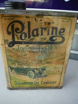 1913 Polarine 1 gallon oil can / with touring car