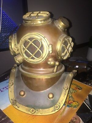 Mark 5 Replica Brass And Copper vintage antique.  Diving Helmet11 inches hig