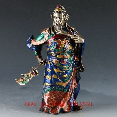 Chinese Cloisonne Handwork Carved Guangong Statue W QianLong Mark  DY311