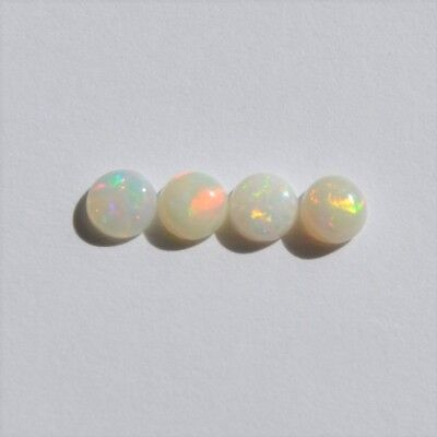 Natural Solid Australian White 1.15Ct 4.3Mm-4.5Mm Opal Loose Round Set Of 4