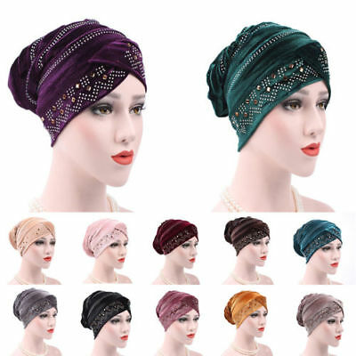 Muslim Women Rhinestone Ruffle Hats Turban Hair Loss Head Wrap Scarf Chemo Caps