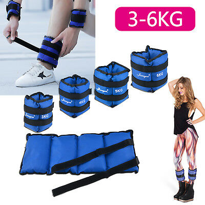 3/4/5/6kg Adjustable Ankle Wrist Weight Training Exercise Wrist Straps Gym Blue
