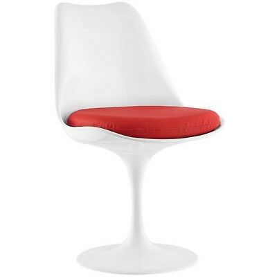 Tulip Fiberglass side white chairs with a red cushions. Very modern and chic.