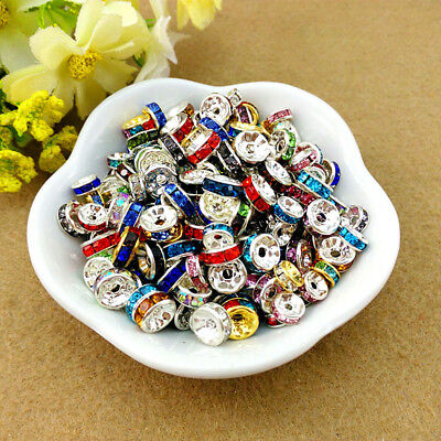 100Pcs 8MM Czech Crystal Rhinestone Rondelle Spacer Beads Bead Cap Findings DIY