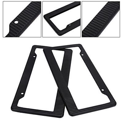 2PC Universal Black Carbon Fiber Printed Style Front/Rear License Plate Frame YA