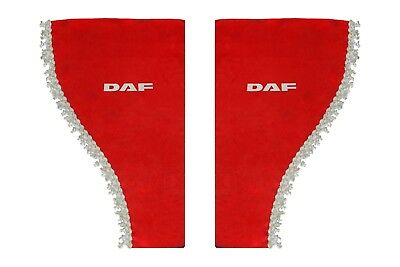 RED Side Windows Shield Truck HGV Lorry Waveform Pelmets Curtains for DAF