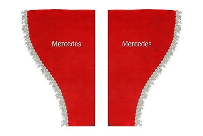 RED Side Windows Shield Truck HGV Lorry Waveform Pelmets Curtains for MERCEDES