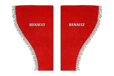 RED Side Windows Shield Truck HGV Lorry Waveform Pelmets Curtains for RENAULT