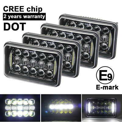 """4pc 60W DOT Approved 4x6"""" inch Led Projector Headlight for H4651 H4652 4652"""