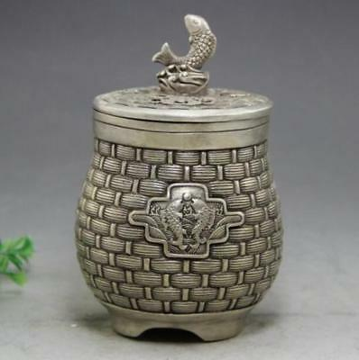 Marked Old Chinese Silver Dynasty Palace Double Fish Pot Tank Jar