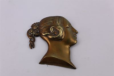 Beautiful Antique BRASS Young Victoria Wall Plaque -258g