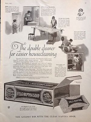 Vintage 1922 Print Ad{D7} Fels Naptha Soap Washes Everything Washable