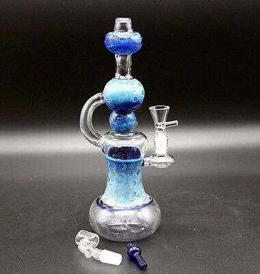 Blue Pattern Glass Water Pipe Bong Bubbler Hookah Catcher Filter Handmade