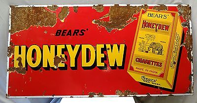 Old Honeydew Cigarettes Bear's Vintage Enamel Porcelain Sign Tobacciana Old Rare