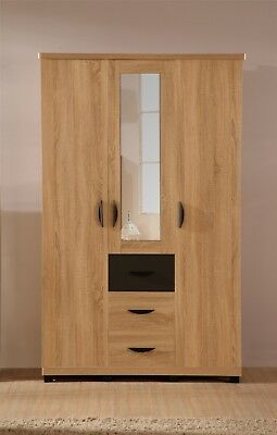 PACIFIC 3 Door 3 Drawer Soft Close Wardrobe in Somano Oak & Anthracite Grey