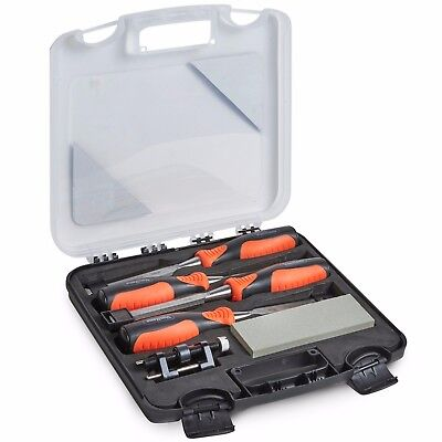 VonHaus 6 Piece Wood Chisel Set with Honing Guide, Sharpening Stone with Case