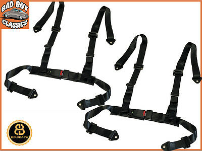 Pair Black 4 Point Car Racing Seat Belt Harness Ideal Offroad 4x4 SUV Buggy