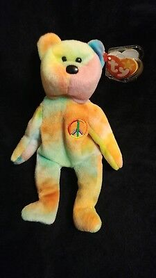 Vintage Peace TY Beanie Baby  NWT Misspelled Tag and PVC Pellets  origiinal