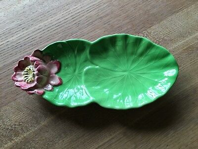 Shorter and sons, Staffordshire majolica lily pad dish 1950's