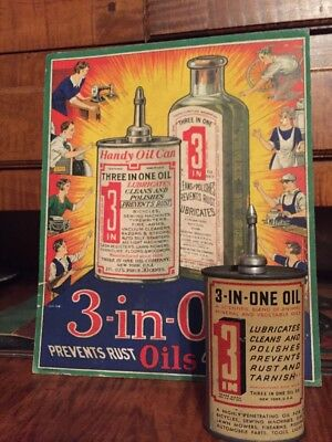 Vintage 3-IN-ONE Oil Lead top Tin Can Handy Oiler Advertising