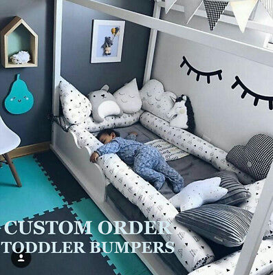 Montessori bed bumper, toddler bed pillows, house bed bumper, tipi bed bolsters