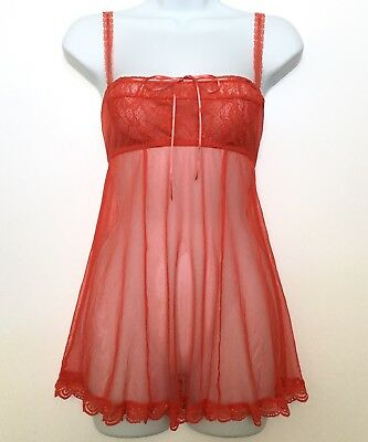 Victoria's Secret XS Lace Babydoll Lingerie - Sexy Sheer Red Nightie Nightgown