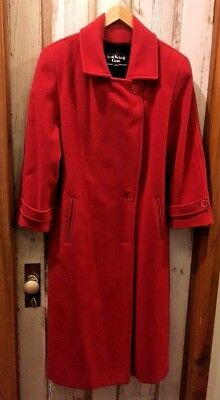 Vintage Anne Klein II Coats Red Trench Coat 100% wool, ILGWU Union Made In USA