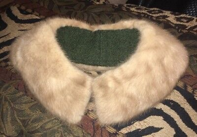 "Gorgeous Vintage 50's 60's Light Brown Real Mink Fur Collar 21""x 3"""