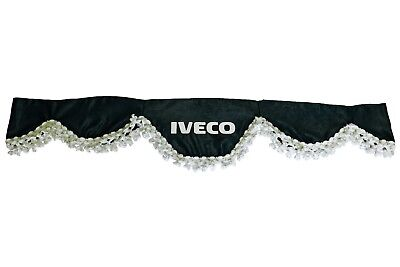 BLACK Front Windscreen Shield Truck HGV Lorry Waveform Curtains Pelmet for IVECO
