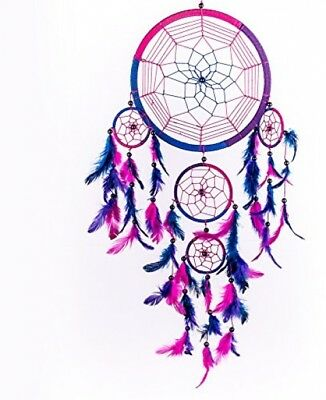 Caught Dreams Dream Catcher ~ Handmade Traditional Royal Blue, Pink and Purple