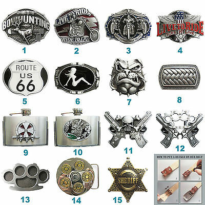 Flask Motorcycle Biker Rider Belt Buckle Mix Styles Choice also Stock in US