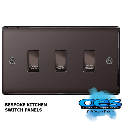 BG Bespoke 3 Gang Gridswitch Kitchen Switch Panel Polished Black Nickel labelled