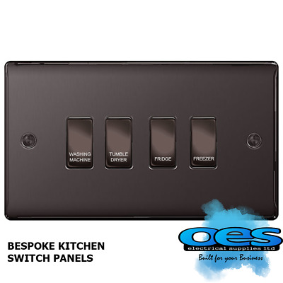 BG Bespoke 4 Gang Gridswitch Kitchen Switch Panel Polished Black Nickel labelled