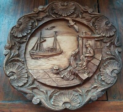 Vintage Carved Wooden/Resin French Wall Plaque Fisherman and Boat 9 Inches dia