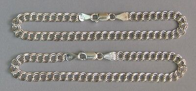 Vintage Sterling Silver 925 Italy Bright Starter Charm Bracelet Lot of 2