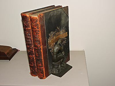 Antique Bronze Bookends with Vol. II and IV of 1889 Cyclopedias