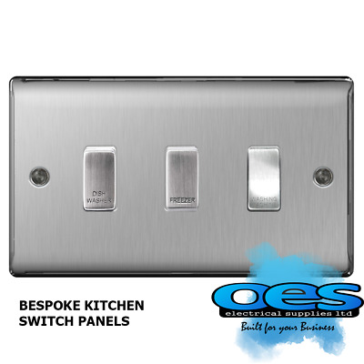 BG Bespoke 3 Gang Gridswitch Kitchen Switch Panel Brushed Steel/Satin Chrome