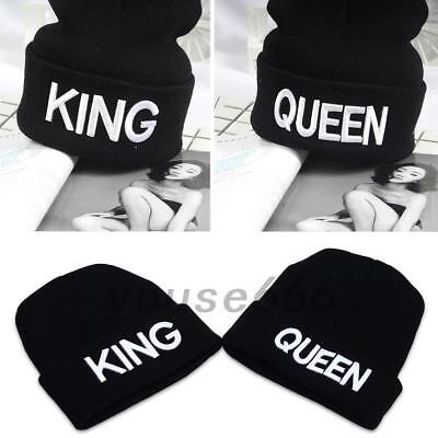 07370812eb1 Men Women Winter Knitted Hats Warm Embroidered King Queen Hip Hop Couple  Caps