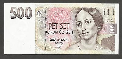 "Czech Republic 500 Korun 1997, UNC, P-20, L-B119a; Female writer; Prefix ""C"""