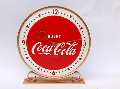 RARE French COCA-COLA Coke CLOCK in brass with porcelaine face, c. 1950's
