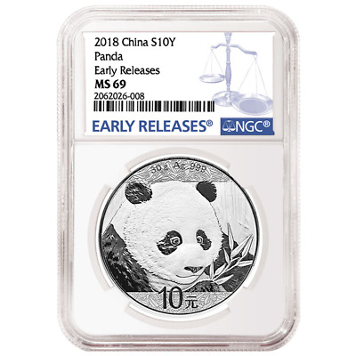 2018 10 Yuan Silver China Panda NGC MS69 Blue ER Label