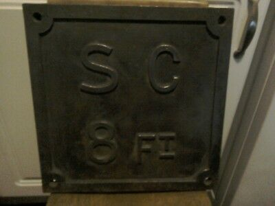 "reclaimed vintage cast iron sign polished heavy 1930s 12"" square."