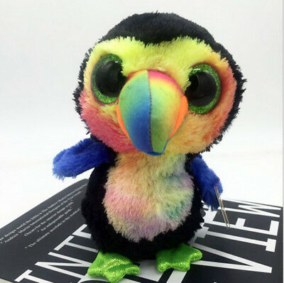 Cute Toucan TY Beanie Boos Plush Stuffed Toys Glitter Eyes (6 inch)