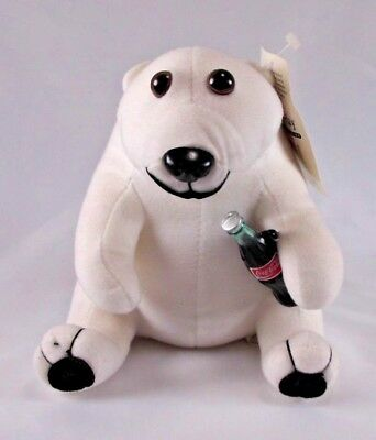 1993 Play-By-Play Coca-Cola Polar Bear Stuffed Animal Plush holding Coke Bottle