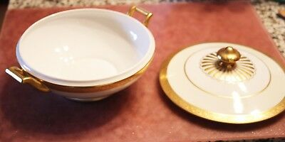 """Heinrich & Co. Selb Bavaria Covered Casserole covered dish 8""""detailed gold edge"""