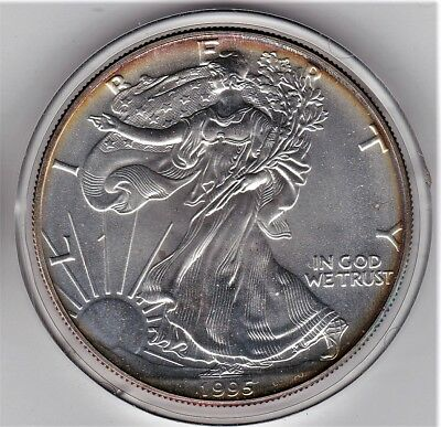 Tougher Date, Nice Perimeter Toning 1995 One Ounce Pure Silver Eagle Dollar